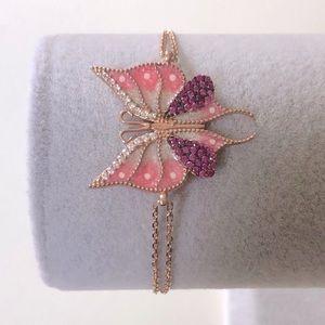 Bracelet 925 silver pink butterfly enamel and cz